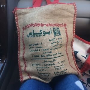 Handbags - Burlap rice bag tote